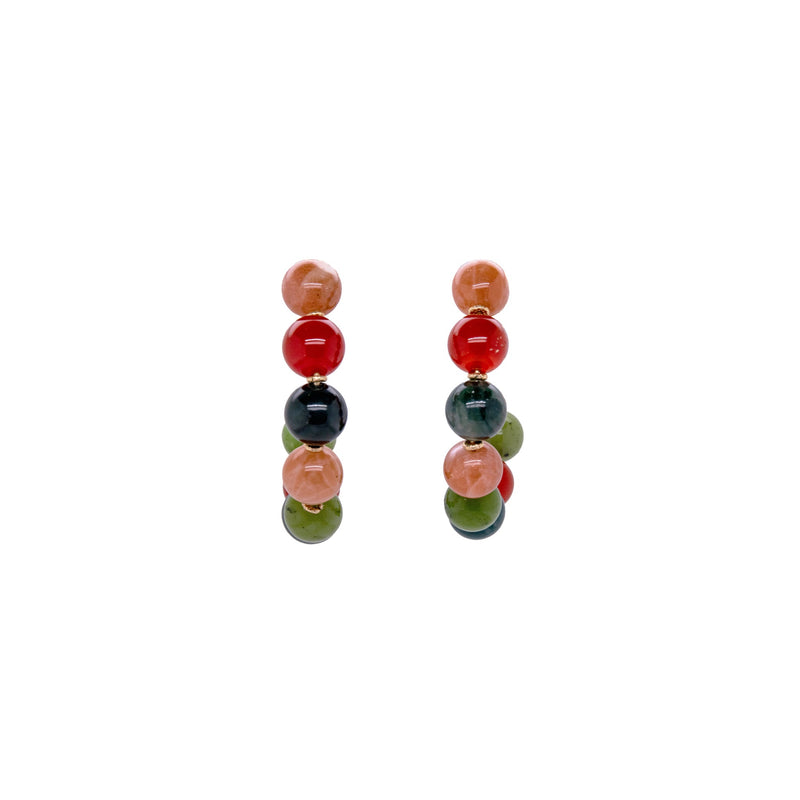 Acerola Hoop Earrings (50mm) - Moon stone, jade, Cornelian