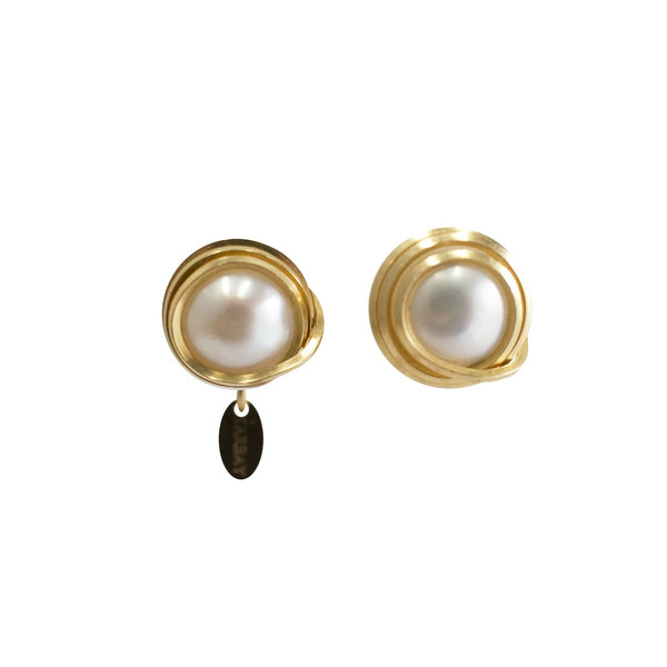 Carmencita Button Earrings (12mm) - Pearl & Yellow Gold