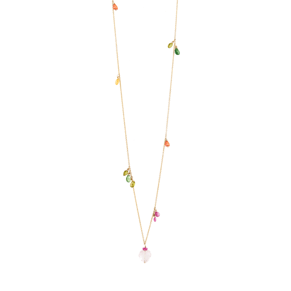 Mila Necklace - Ruby, Emerald, Peridot, Rose Sapphire, Cornelian, Rose Tourmaline, Sodalite & Rose Quartz - TARBAY