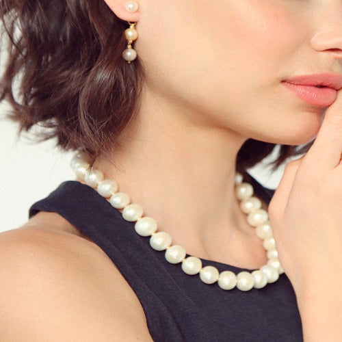 Pearl Necklace with gold separators (12-14mm) - TARBAY