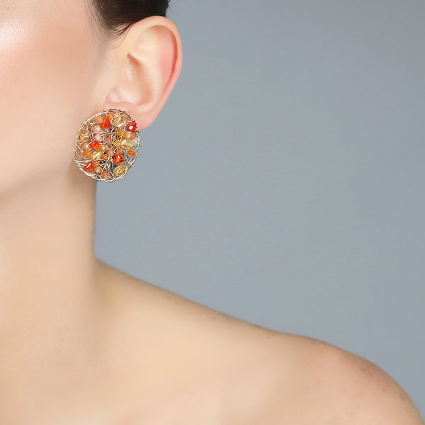 Aura Earrings #1 (30mm) - Yellow & Orange Gems Mix - TARBAY
