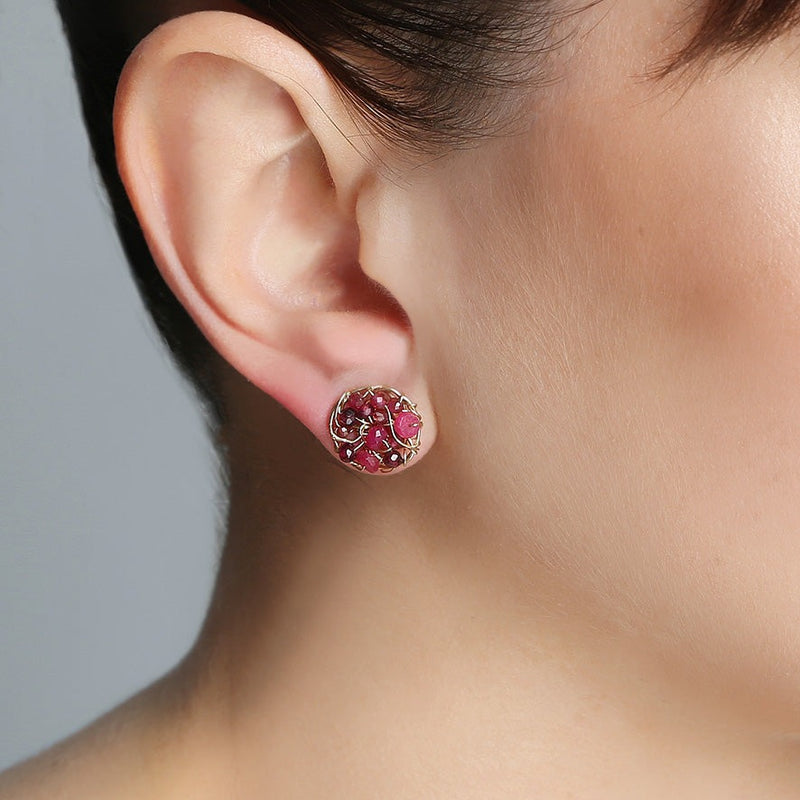 Aura Button Earrings (10mm) - Ruby, garnet & tourmaline - TARBAY