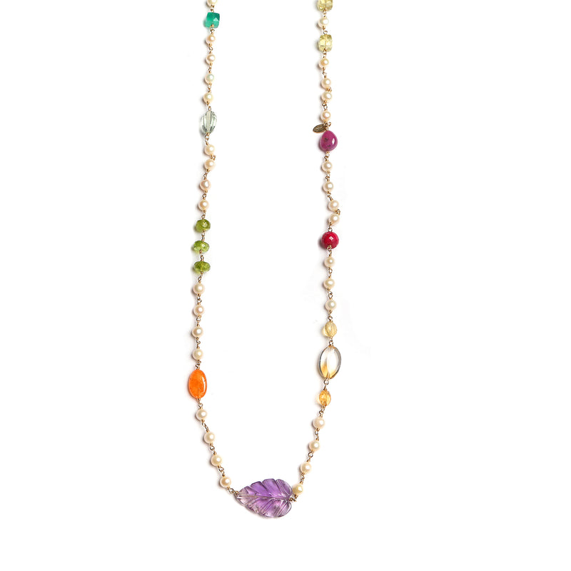 Maeve Long Necklace -Ppearl, citrine, amethyst, topaz, ruby, tanzanite, spperssatite, green Onyx, green amethyst &peridot - TARBAY