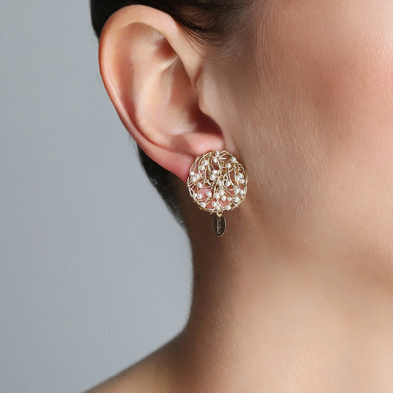 Aura Earrings #1 (20mm) - Pearl - TARBAY