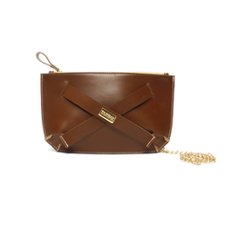 Tajali Genuine Leather Clutch Bag - Caramel