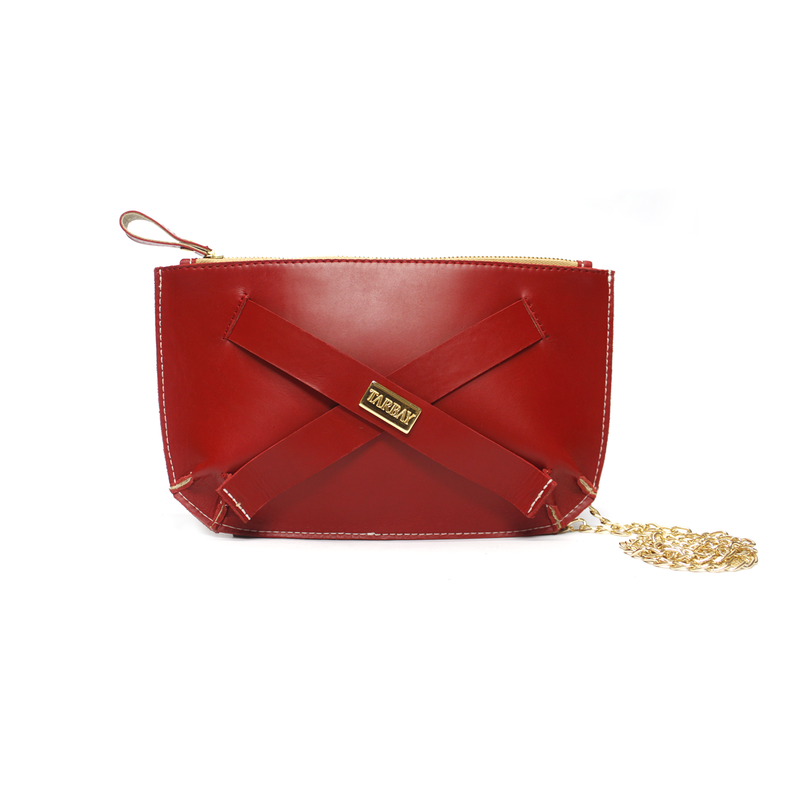 Tajali Genuine Leather Clutch Bag - Carmine