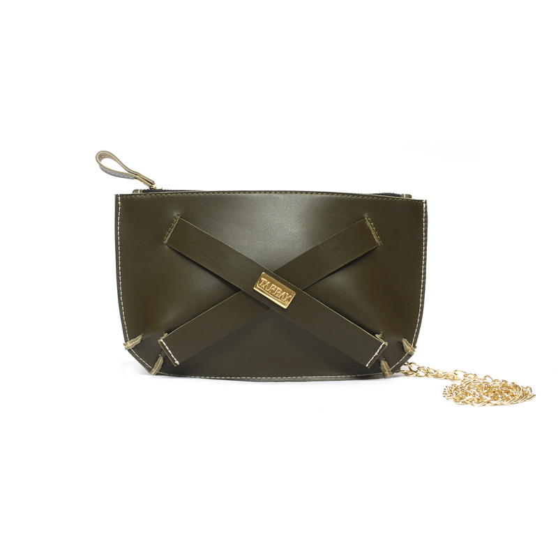 Tajali Genuine Leather Clutch Bag - Herb