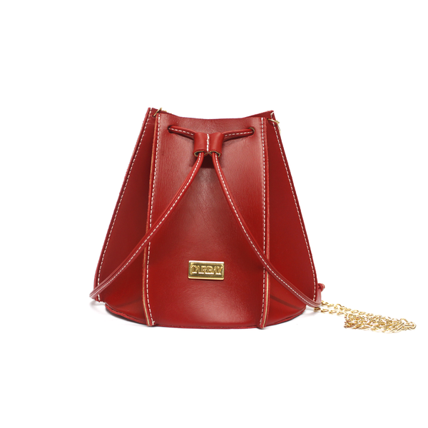 Tajali Leather Bucket Bag - Red