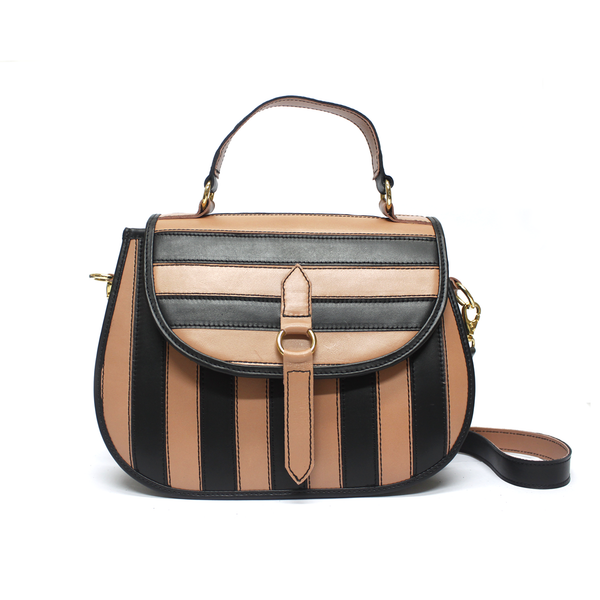 Yarake Leather Flap Bag - Striped Dusty Rose & Black - TARBAY