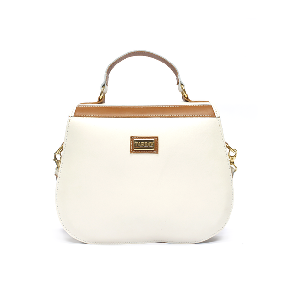 Yarake Leather Flap Bag - Striped Caramel & White - TARBAY