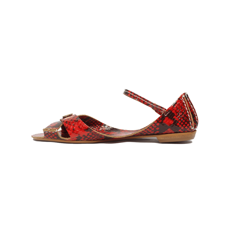 Tajali Leather Sandals - Carmine Print - TARBAY