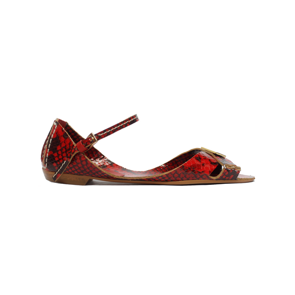 Tajali Leather Sandals - Python Carmine