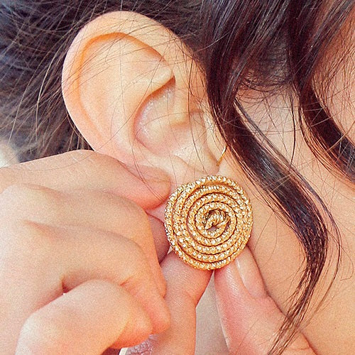Tempo Button Earrings (25mm) - Yellow Gold - TARBAY