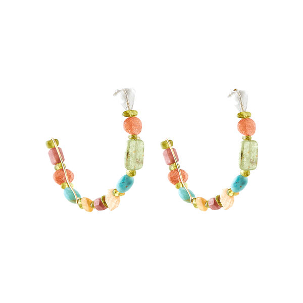 Tiare Hoop Earrings (55mm) - Yellow Quartz, Peridot, Sun Stone, Aquamarine, Amazonite & Tourmaline - TARBAY