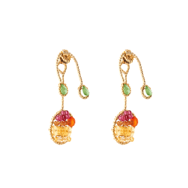 Lilli Button Dangle Earrings - Citrine, Cornelian, Spessartite, Tourmaline, Emerald & Sodalite - TARBAY