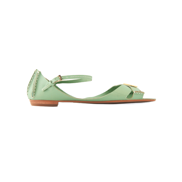 Tajali Leather Sandals - Sage - TARBAY