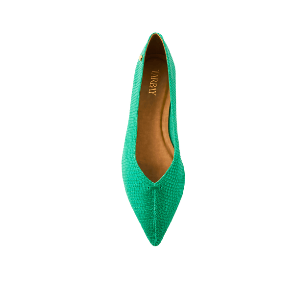 Grove Leather Flat Shoes - Viper Green - TARBAY