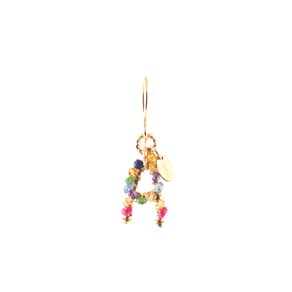 Handmade Letter Dangle Earring (35mm) - Ruby, Emerald, Peridot, Rose Sapphire, Cornelian, Rose Tourmaline, Sodalite & Rose Quartz - TARBAY