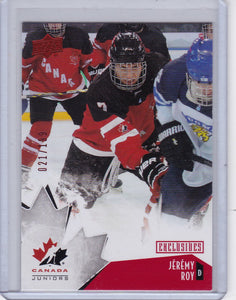Jeremy Roy 2015-16 Team Canada Juniors card 13 Red Exclusives #d 021/199