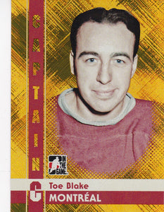 Toe Blake 2011-12 ITG Captain C card # 92 Gold Parallel