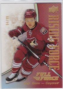 Max Domi 2015-16 Full Force Rising Force card RF-MD Gold #d 04/99