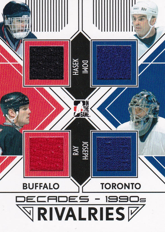 Hasek Ray Domi Joseph 2013-14 ITG Decades Rivalries Quad Jersey card R-04