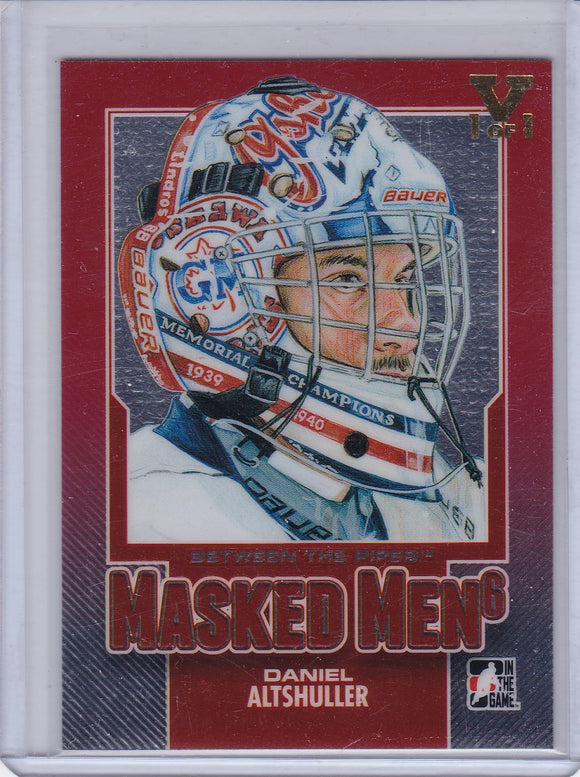 Daniel Altshuller Final Vault 2013-14 Between The Pipes Masked Men 6 card MM-16 #d 1/1