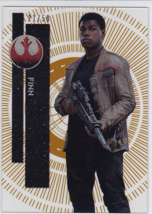 Star Wars High Tek card #106 Finn Gold Rainbow Diffractor 21/50 Pattern 1