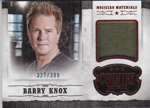 Barry Knox 2014 Panini Country Music Musician Materials Relic M-BKN 327/399