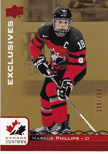 Markus Phillips 2017-18 Team Canada Juniors card 67 Red Exclusives #d 158/199