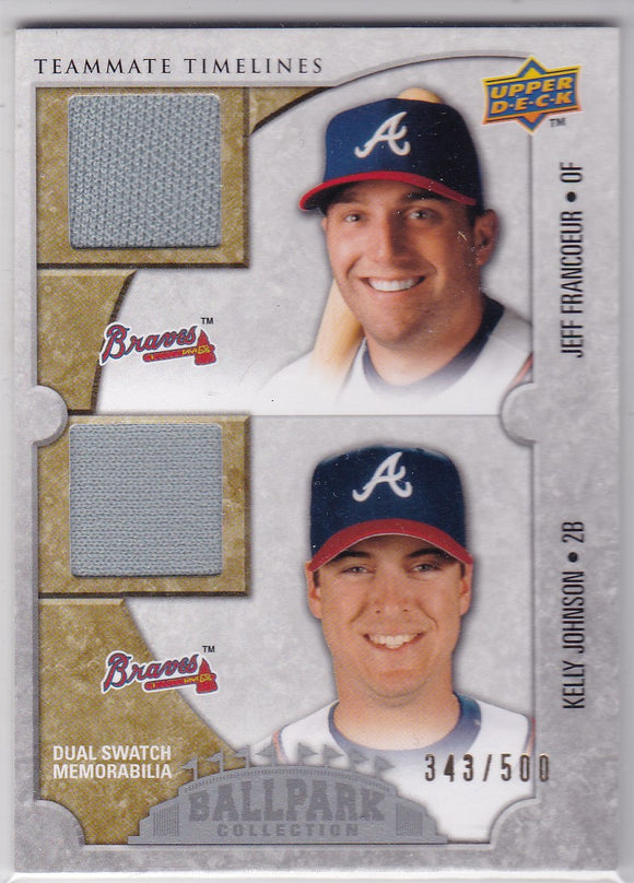 K Johnson J Francour 2008 Ballpark Collection Jersey card 168 #d 343/500