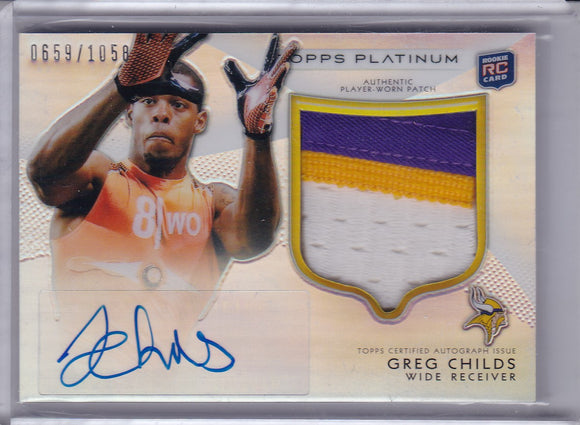 Greg Childs 2012 Topps Platinum Autograph Patch Rookie card 165 #d 0659/1058