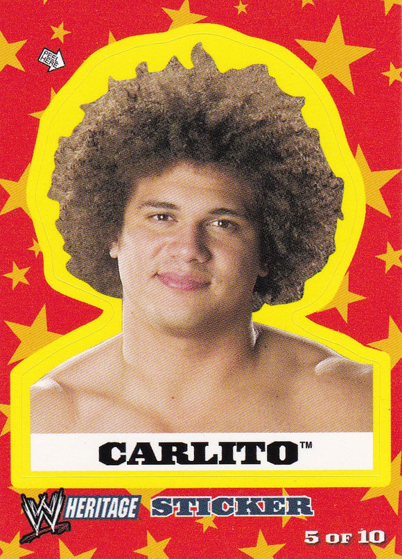 2005 Topps WWE Heritage Wrestling Sticker 5 of 10 Carlito