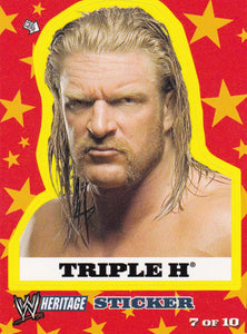 2005 Topps WWE Heritage Wrestling Sticker 7 of 10 Triple H