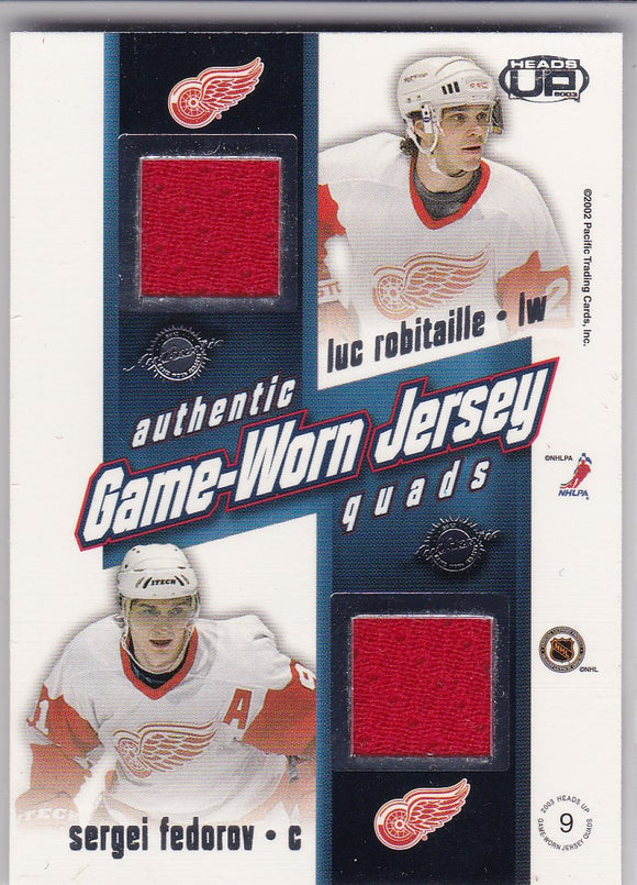 Blake Sakic Robitaille Fedorov 2002-03 Pacific Heads Up Quad Jersey Card #9