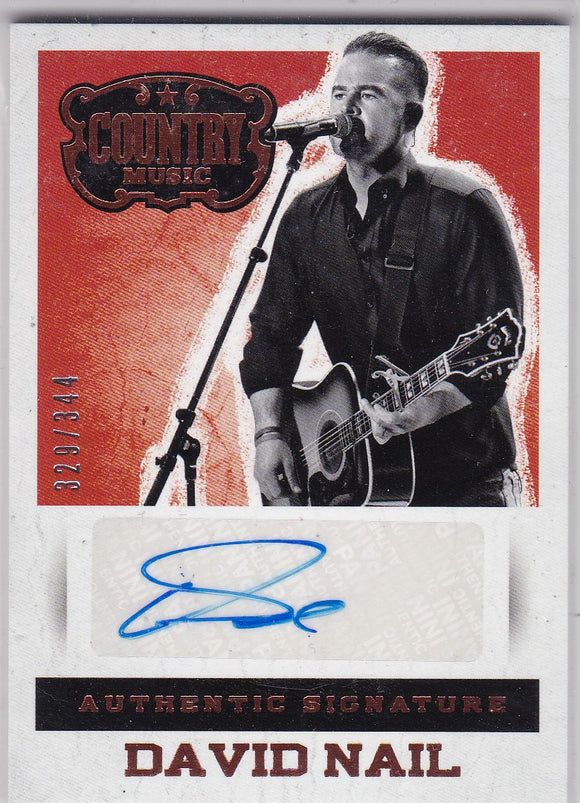 David Nail 2014 Panini Country Music Autograph card S-DN #d 329/344