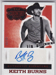 Keith Burns 2014 Panini Country Music Autograph card S-KB Red #d 50/99
