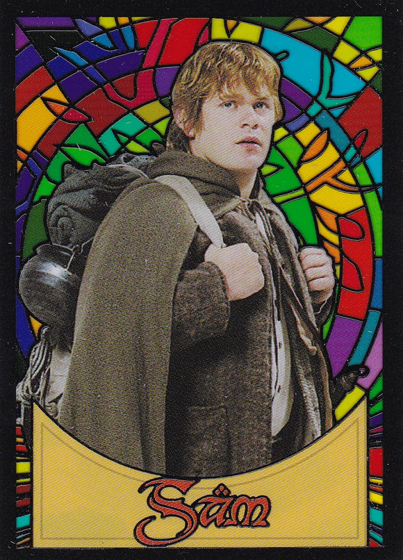 Lord Of The Rings Evolution Stained Glass Insert card S10 Sam