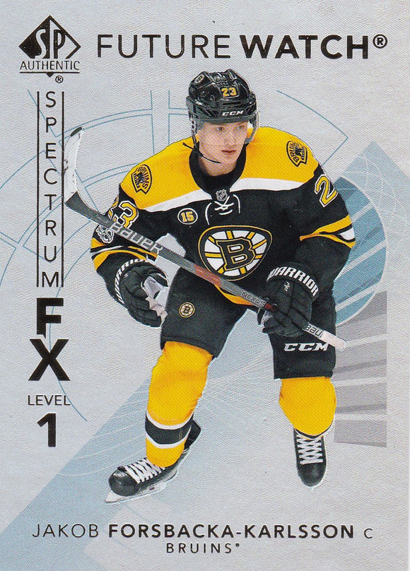 Jakob Fosbacka-Karlsson 2017-18 SP Authentic Future Watch Spectrum FX S-50