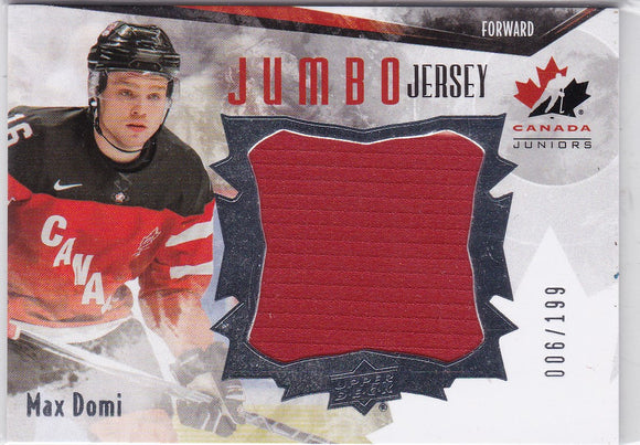 Max Domi 2015-16 UD Team Canada Juniors Jumbo Jersey card JS-MD #d 006/199