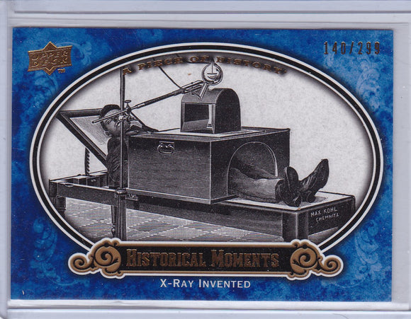 2009 A Piece Of History Baseball card #185 X-Ray Invented Blue #d 140/299