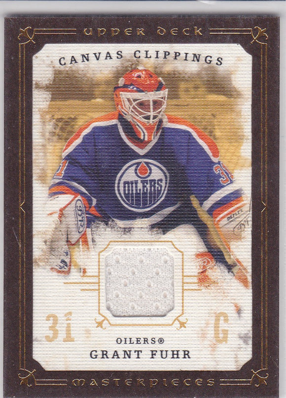 Grant Fuhr 2008-09 UD Masterpieces Canvas Clippings Jersey card CC-GF