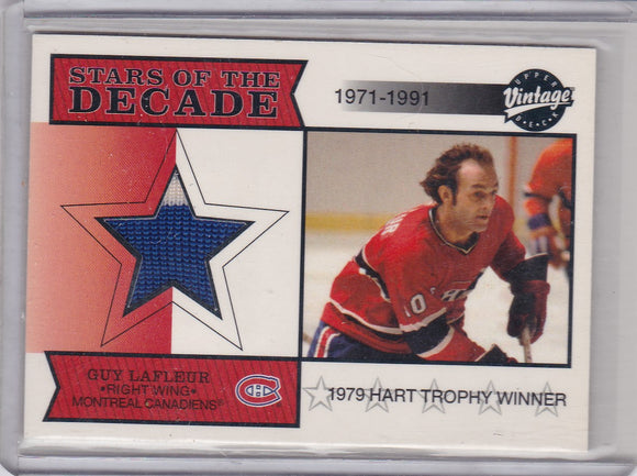 Guy Lafleur 2001-02 UD Vintage Stars Of The Decade Jersey card SD-GL