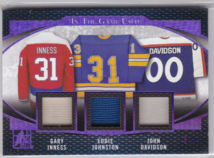 Gary Inness Eddie Johnston John Davidson 2017 In The Game Used Triple Relic GU3-16 #d 5/12
