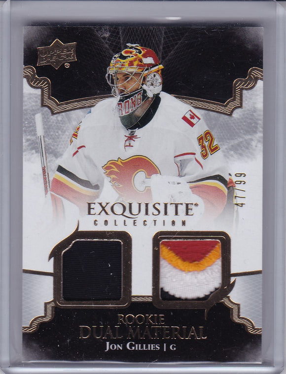 Jon Gillies 2017-18 Exquisite Collection Rookie Dual Material card RDJG #d 47/99