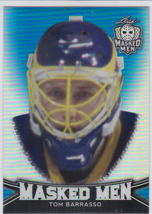 Tom Barrasso 2017-18 Leaf Masked Men Metal / Mask card #28 Blue #d 1/35