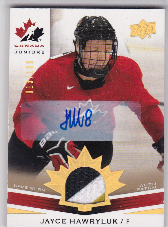 Jayce Hawryluk 2014-15 UD Team Canada Juniors Autograph Patch card #172 #d 013/199