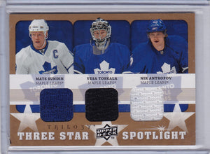 Sundin Toskala Antropov 2008-09 Trilogy Three Star Spotlight Jersey card 3S-STA