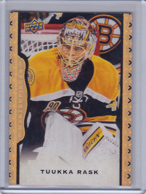 Tuukka Rask 2014-15 Masterpieces card #32 Black Framed Leather #d 22/50