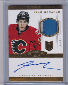 Sean Monahan 2013-14 Dominion Autograph Rookie Patch card #202 #d 11/25